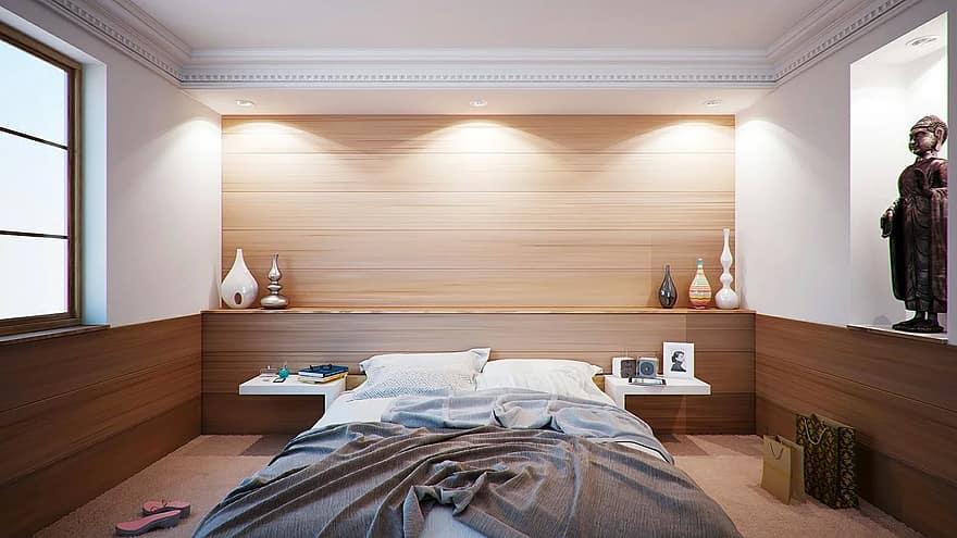 bedroom bed apartment room interior design decoration sleeping cosy