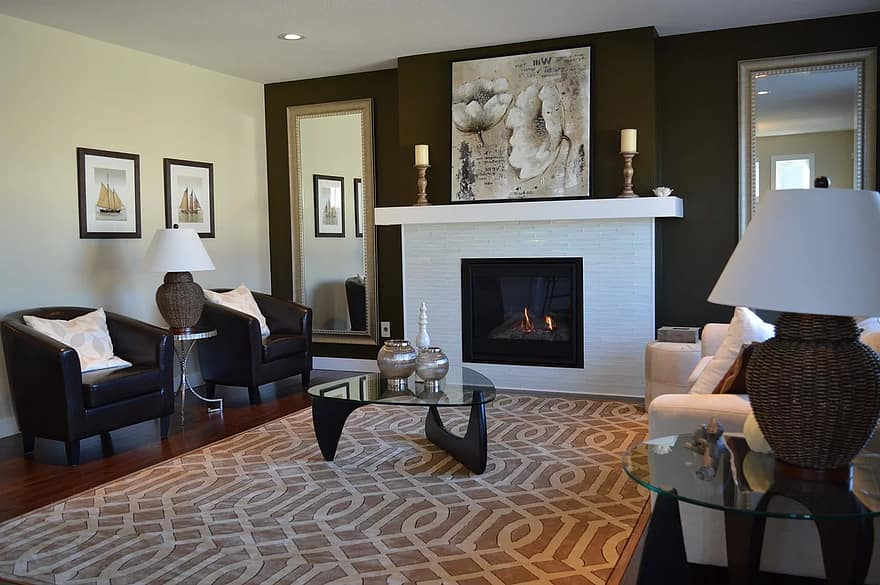 living room fireplace chairs furniture decor interior design home house contemporary
