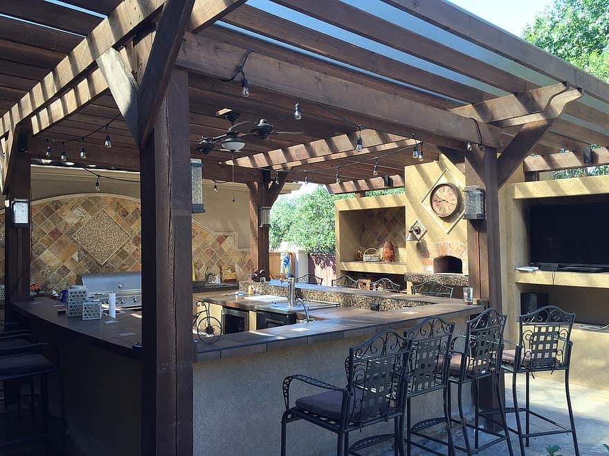patio cover outdoor kitchen tile copper patio stone design outdoor kitchen 1