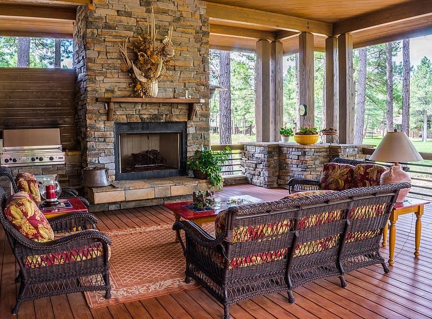 porch fireplace design house furniture deck cozy luxury patio