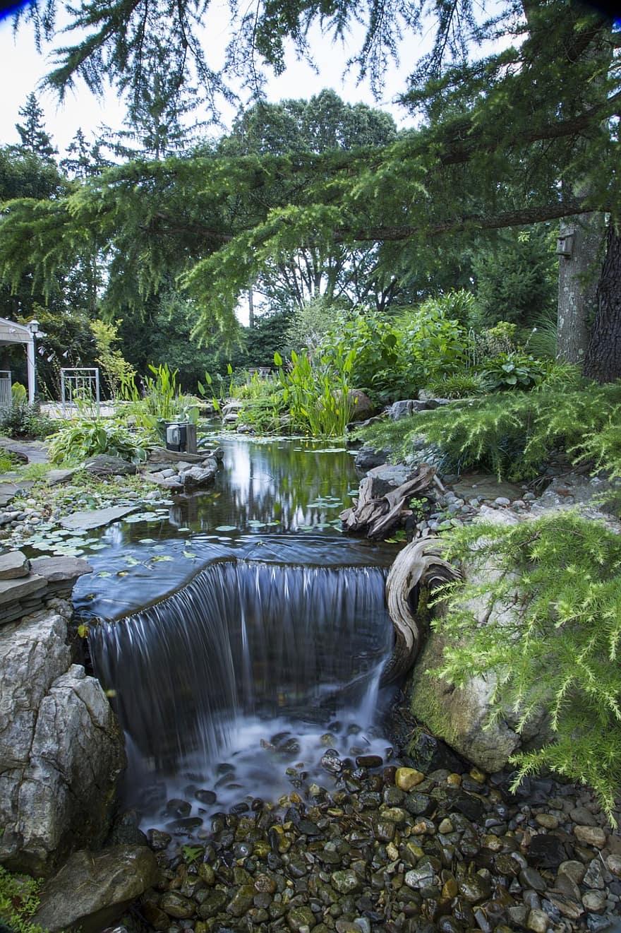 waterfalls pond fish pond nature water landscape summer travel garden