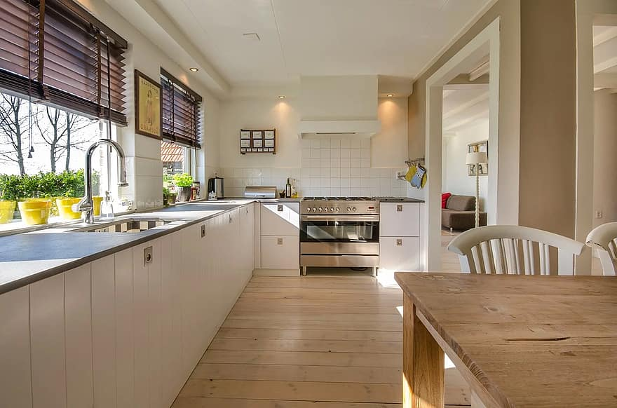 wooden floor kitchen room design with wall mounted lamp inspiration