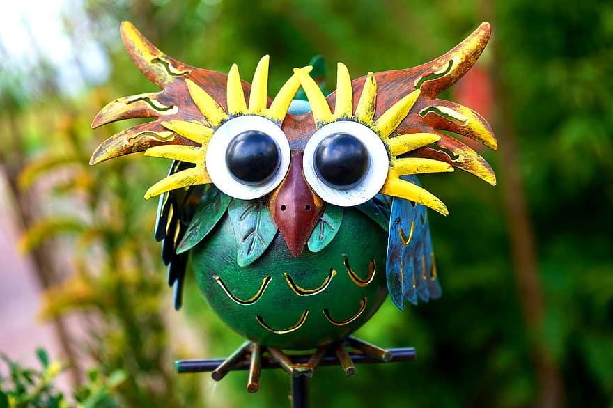 art metal metallic decorative owl decoration alloy bright shiny