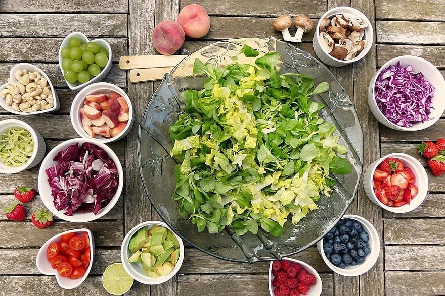 salad fruits berries healthy vitamins fresh food vegetarian eat