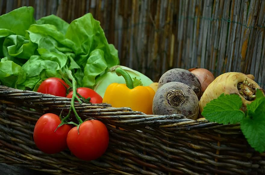 vegetables tomatoes vegetable basket salad garden harvest fresh vegetarian eat 1