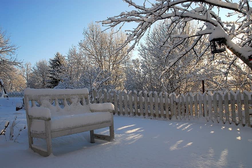 chair snow winter garden backyard park fence 1