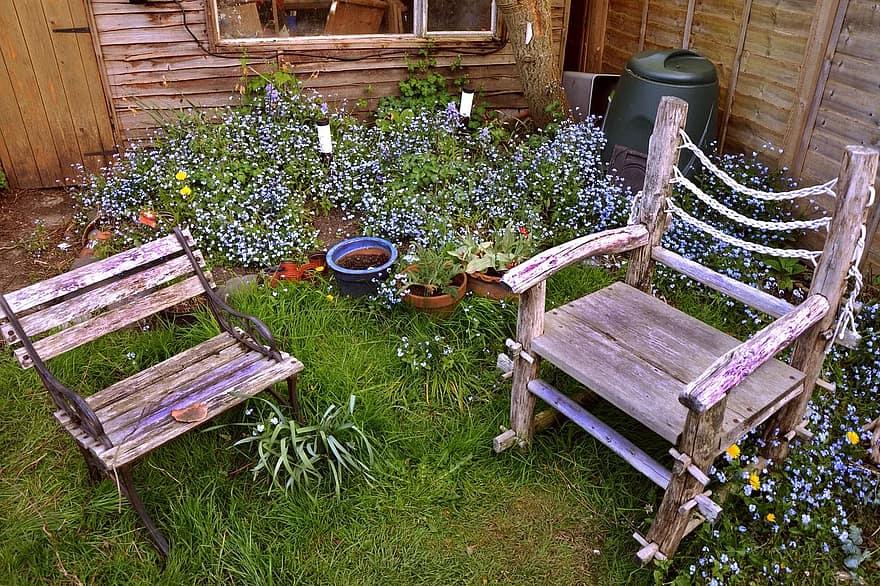 chairs garden seat furniture outdoor green grass summer plant