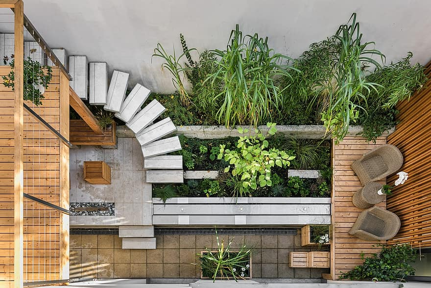 wooden wood house architecture garden wall step patio exterior