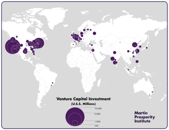 Venture capital investment by metropolitan area