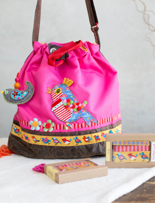 Packs Ein - Designer Kollektion - Bortenbänder, Borten, Webbänder, Birds gelb , design lila-lotta für farbenmix
