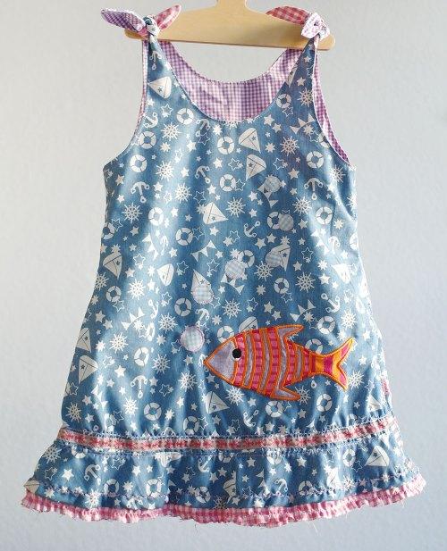 OONA Schnittmuster Farbenmix Kinderkleid, Webband - Hummer Lobster & Friend - Cherry Picking Design