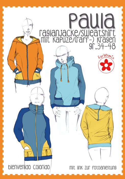 Papierschnittmuster bienvenido colorido Paula - farbenmix - Raglanjacke, Sweatshirt mit Kapuze