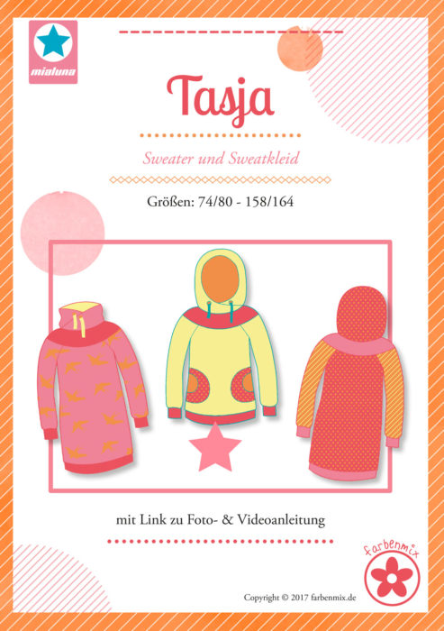 Tasja Design Mialuna Papierschnittmuster - Sweater Sweatkleid farbenmix