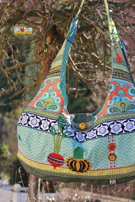 Lila Lotta ein Beispiel der Faltentasche AS - jetzt bei farbenmix als Ebook . Schritt für Schritt Anleitung und Schnittmuster Taschenspieler
