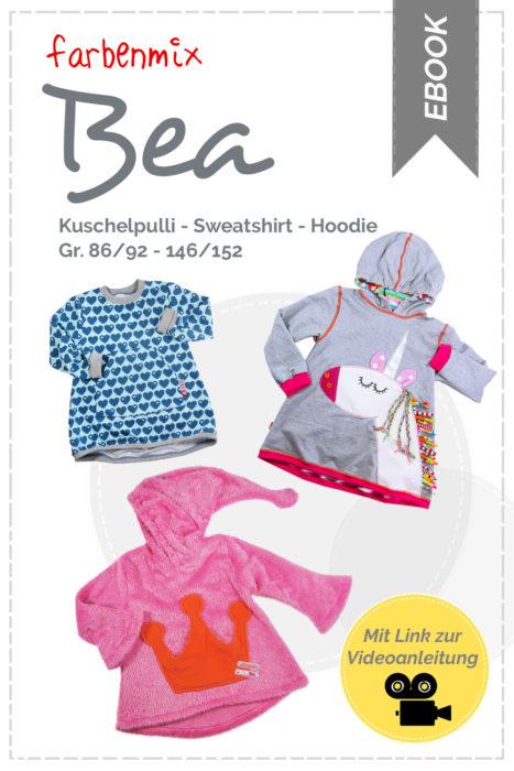 neue überarbeitete farbenmix Schnittmuster BEA - Kuschelpulli nähen, Sweatshirt nähen oder Hoodie - mit Schritt für Schritt Anleitung und Video