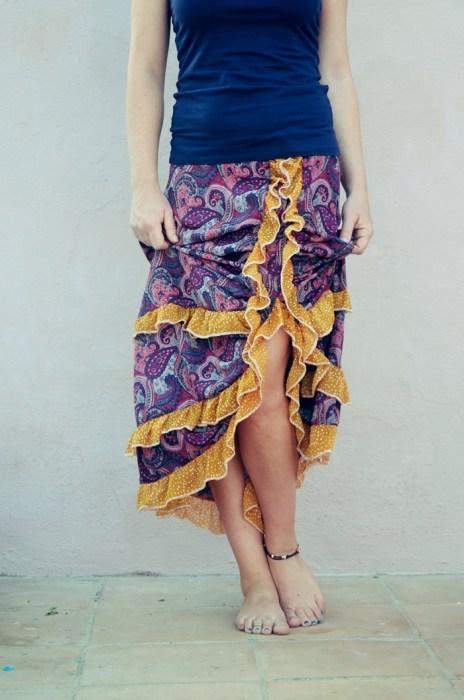 Ob Hippie oder Folklore Look mit dem Ebook VITTORIA nähst du ein Damenrock im Boho Look. Raffrock in drei Längen