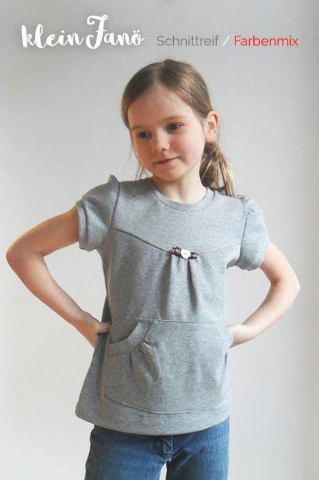 auch in uni Farben Shirt nähen für Mädchen - mit Puffärmeln und Bauchtasche - Basic Shirt Anleitung farbenmix