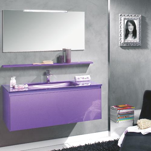 meuble salle de bain violet laque