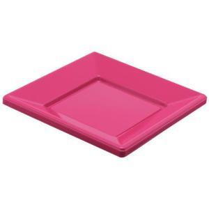 Assiette plastique carrée fuchsia 23cm