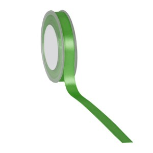 Ruban double satin 15mm vert pré