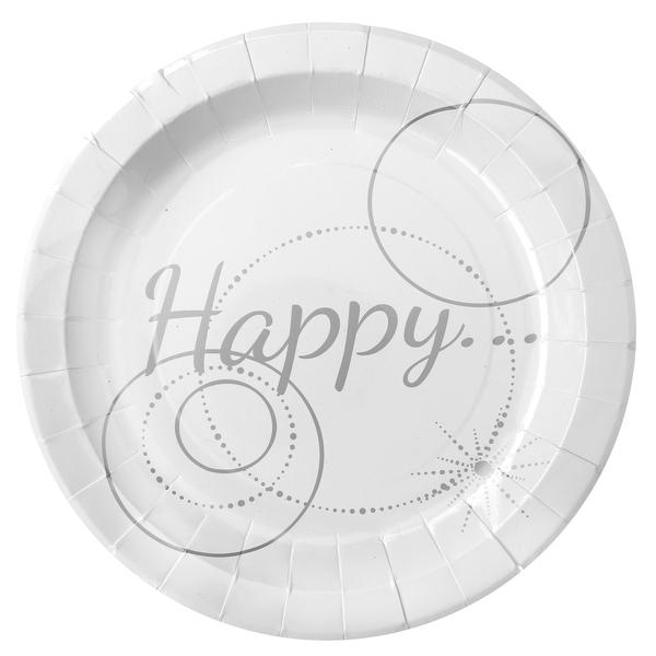 Assiette carton Happy blanc et argent