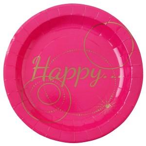 Assiette carton Happy fuchsia et or