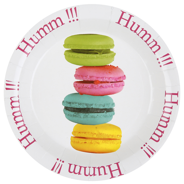 Assiette Carton Macaron 22,5 Cm X 10 Pièces - Multicolore