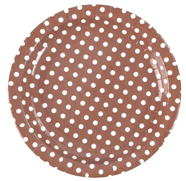 Assiette carton à pois chocolat