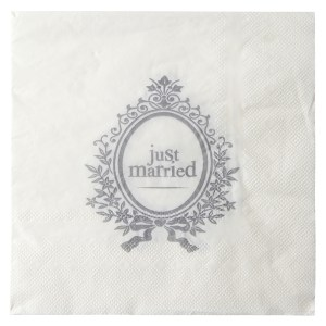 Serviette just married blanc