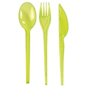 Couverts plastiques transparents verts