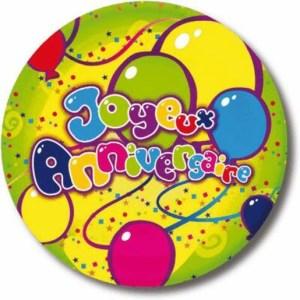 Assiette carton joyeux anniversaire