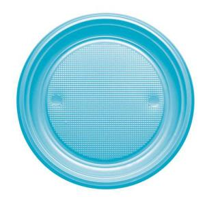 Assiette plastique ronde 17 cm turquoise