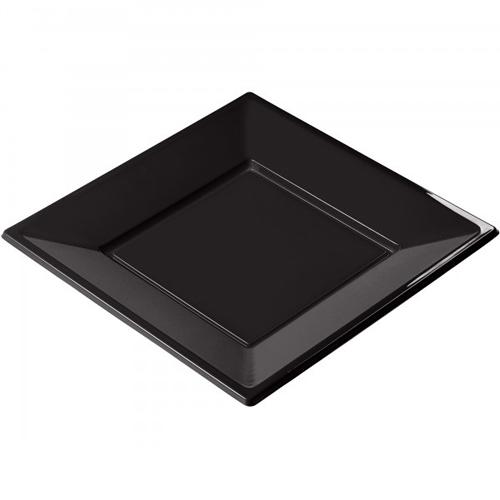 Assiette plastique carrée noire 23cm