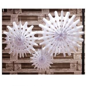 Rosace crépon x 3 pièces - blanc