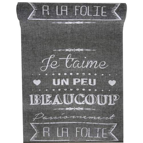 Chemin de table je t'aime - gris