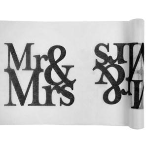 Chemin de table Mr et Mrs - blanc
