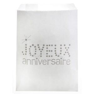 Sachet papier joyeux anniversaire - blanc