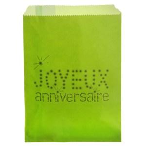 Sachet papier joyeux anniversaire - vert