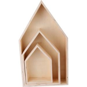 Set de 3 maisons en bois