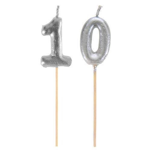 Bougie sur pique 10 ans - argent