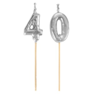 Bougie sur pique 40 ans - argent