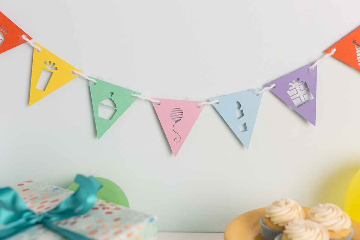 birthday banner with images cut out
