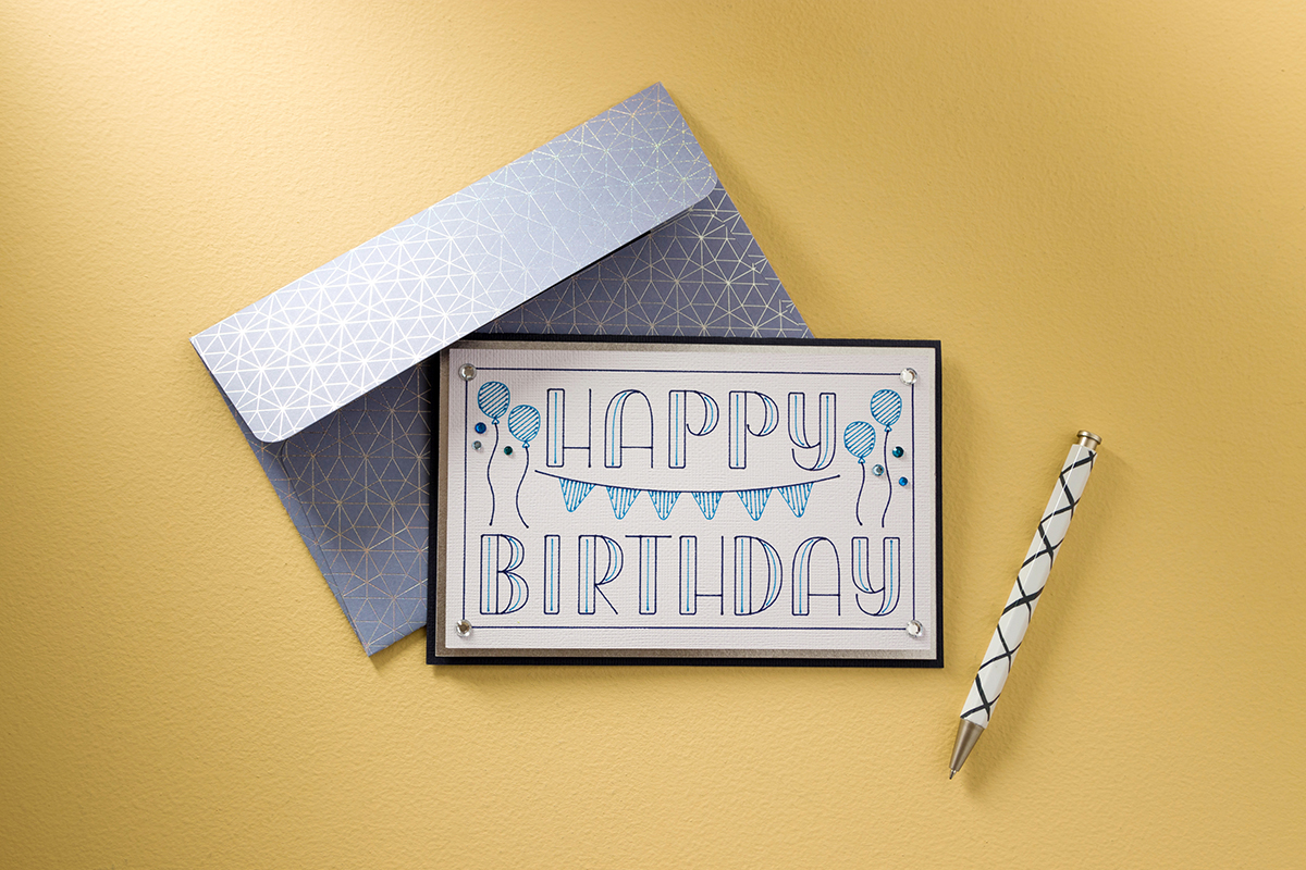 happy birthday card in Agent Q font
