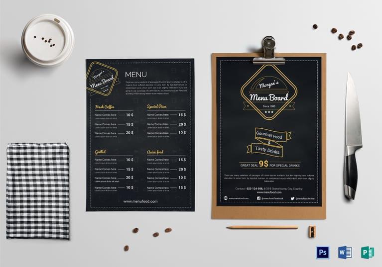 Simple Restaurant Menu Board Template