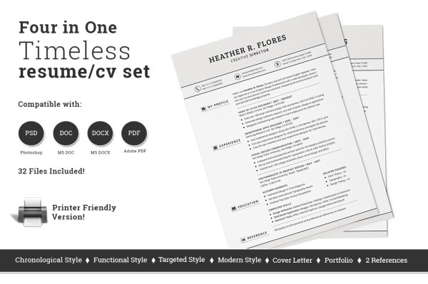 4-in-1-timeless-resume-cv-set