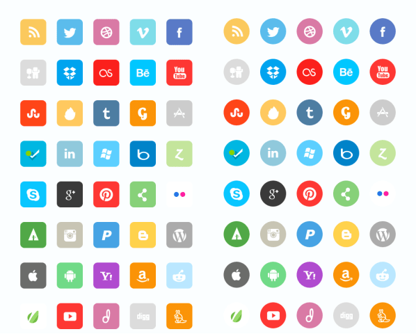 Flat Social Icon Set by DesignDeck
