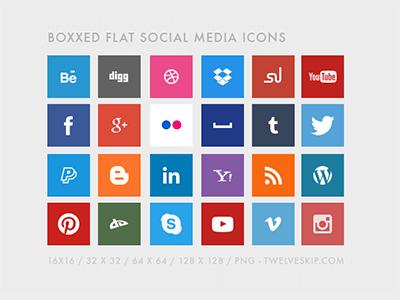 Free Flat Social Media Icons by Pauline C.