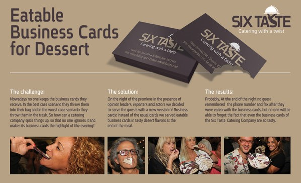 Six Taste's edible business cards
