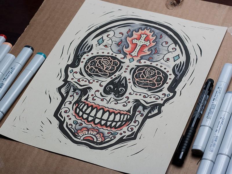 Burning Sugar Skull by Derrick Castle (1)