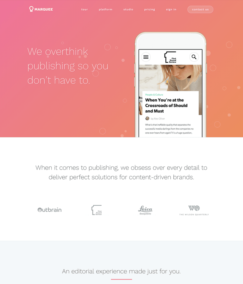 Marquee Product Landing Page